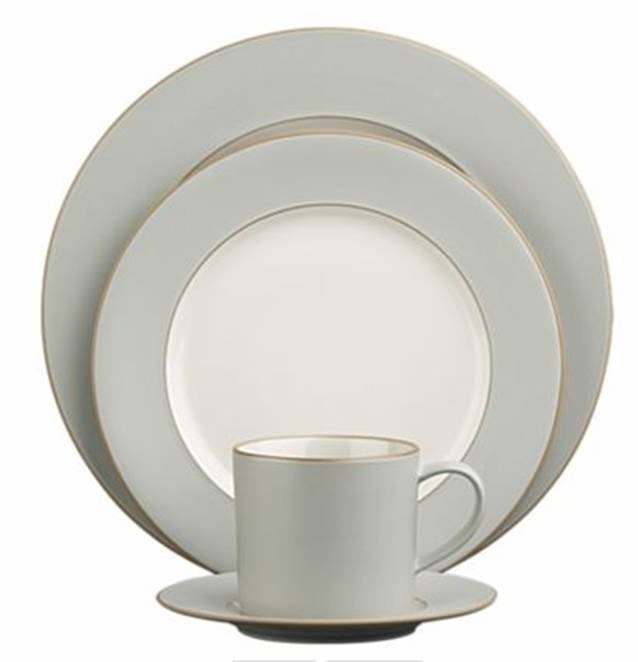 White clay stoneware dinnerware with grey rim from Crate u0026 Barrel  sc 1 st  Cococozy & CHEAP TO CHIC: ON THE EDGE WITH A CLASSIC DINNERWARE PATTERN! | COCOCOZY