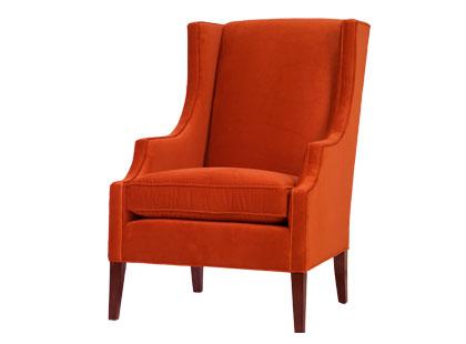 Orange velvet wingback armchair from Jayson Home & Garden