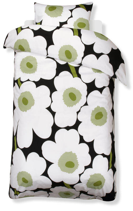 duvet cover with black ground and white and green flowers from marimekko - Marimekko Bedding