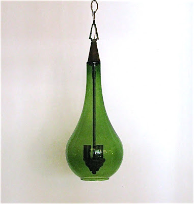Vintage green glass pendants with original cap from pieces
