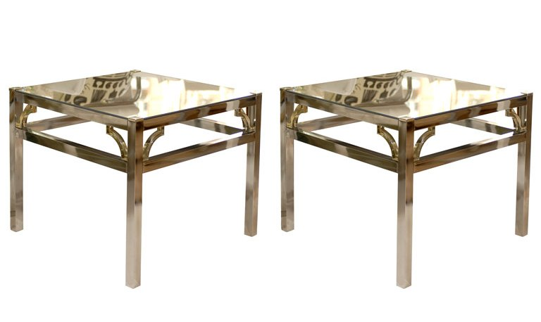 Pair of vintage mirror end tables from Pieces