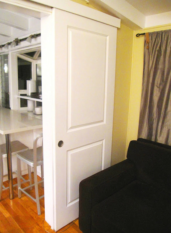 White interior barn door in a cottage in the Hollywood Hills