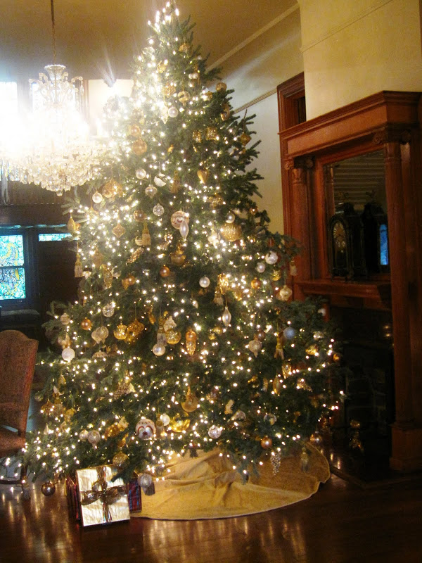 Formal Christmas tree in the Front Hall of a historic New Orleans mansion