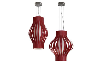Natural wood veneer pendant lights from Vastu