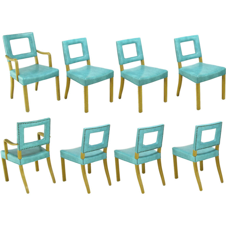 Eight vintage 1950s dining chairs with original turquoise blue vinyl upholstery from Assemblage