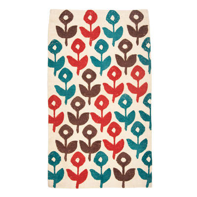 Floral printed cotton dhurrie rug from John Robshaw
