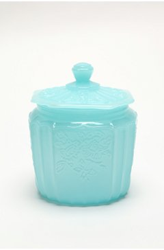 Vintage opaque turquoise blue glass jar from Urban Outfitters