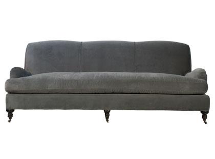 Grey velvet upholstered sofa with tight back from Jayson Home & Garden
