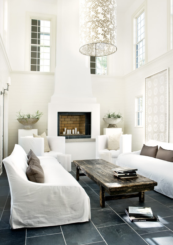 All white living room in a Florida beach house