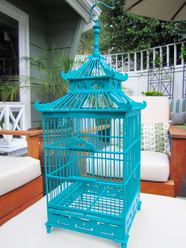 Custom painted teal Chinoiserie inspired wood bird cage
