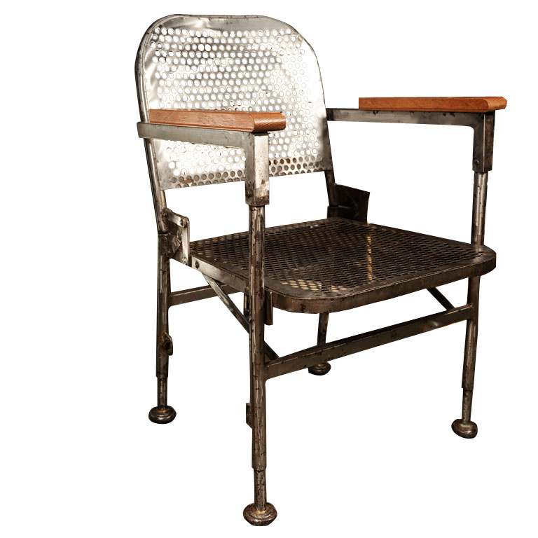 Vintage Perforated Metal and Wood French Chairs