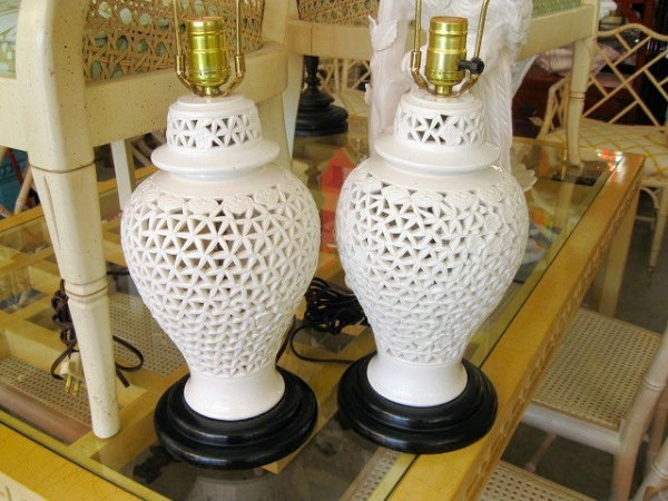 Pair of Asian Ceramic Cut Out Lamps