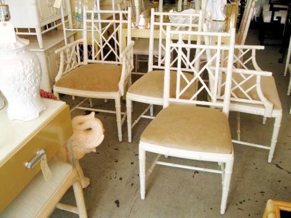4 white faux bamboo chippendale dining chairs,