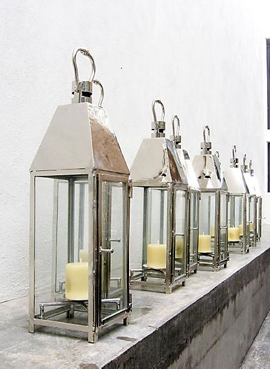 polished nickel finish wrought iron lanterns