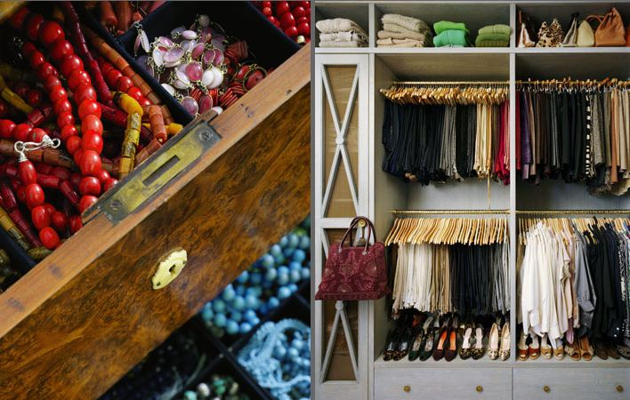 On the left is jewlery organized by color and type in a drawer, on the right is a well organized closet