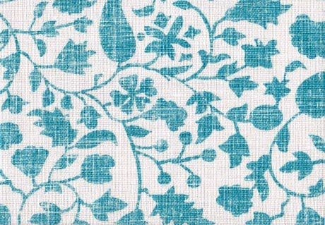 Distressed turquoise floral pattern on heavy linen from Mally Skok Design