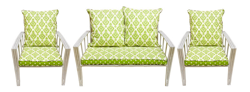 Aluminum Sette & Chairs with cushions covered in a green polka dot and paisley reversible fabric