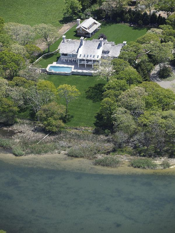 Aerial view of a mansion in East Hampton