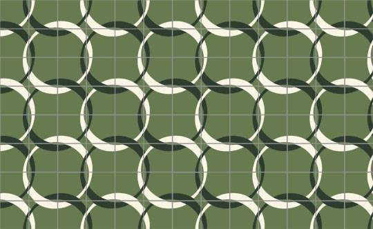 Green cement Moroccan tiles with a black and white interlocking circle print