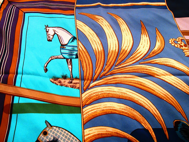 Close up of the palm fronds on the Carre en Carres scarf by Hermes