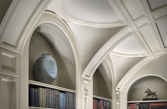 Library with barrel vaulted ceilings in a New York Brownstone designed by Peter Pennoyer