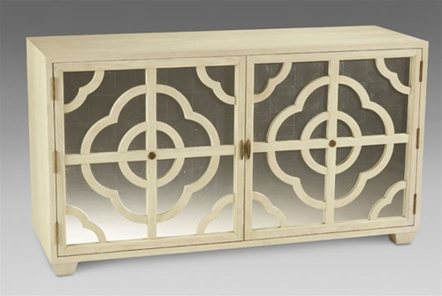Cabinet with eglomise doors with a inspired lattice quatrefoil and circle pattern from Doxa Home