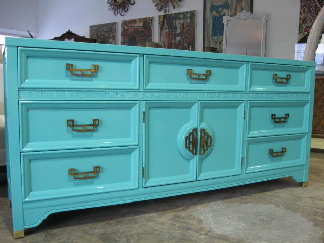 Turquoise blue lacquered cabinet, dresser or sideboard with brass hardware from Sabina Danenberg Antiques