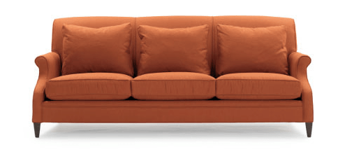 Orange three seat sofa from Mitchell Gold + Bob Williams