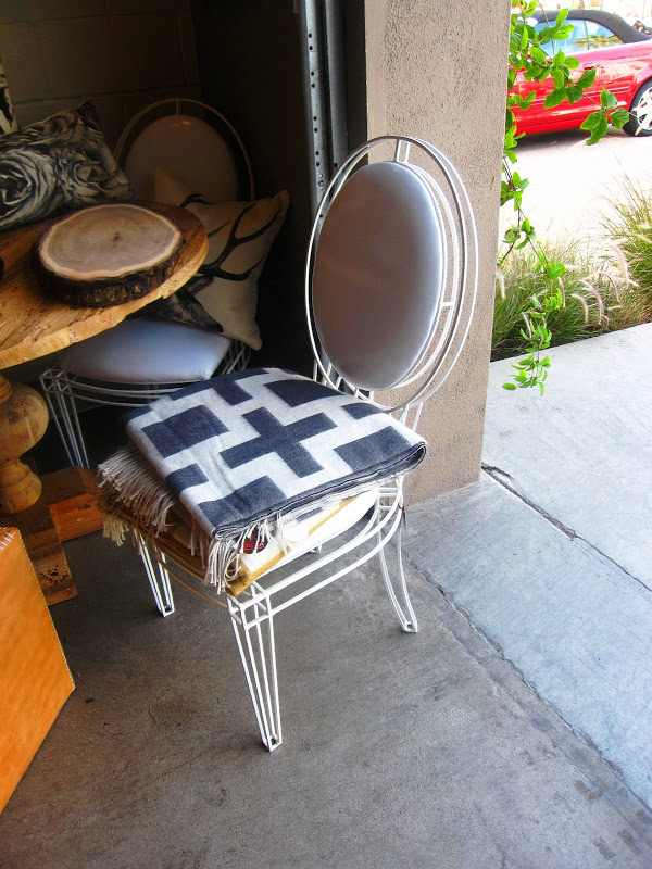 Casamidy Opera Side Chair with white leather seat and back and a white metal frame