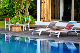 EcoChic Second Wind Sun Bed with Even Keel Garden Chairs