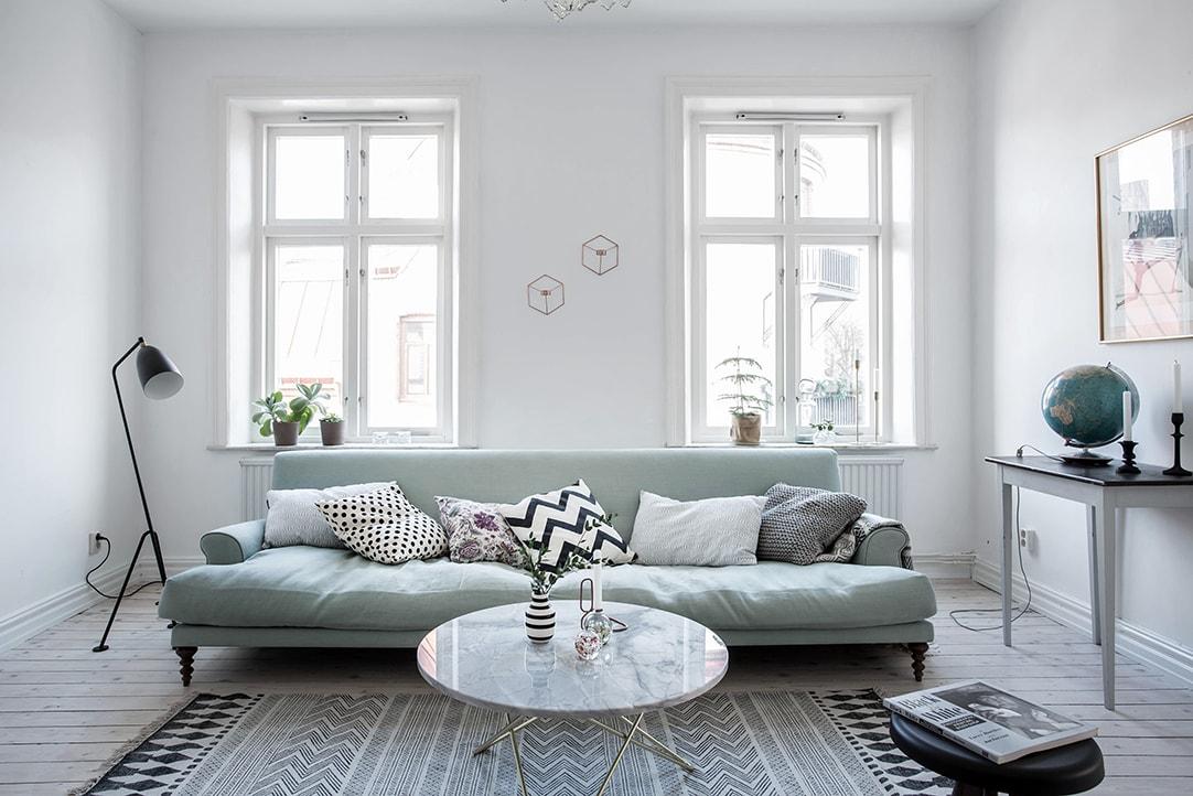 Mint Green Sofa In A Light Home Coco Lapine Designcoco
