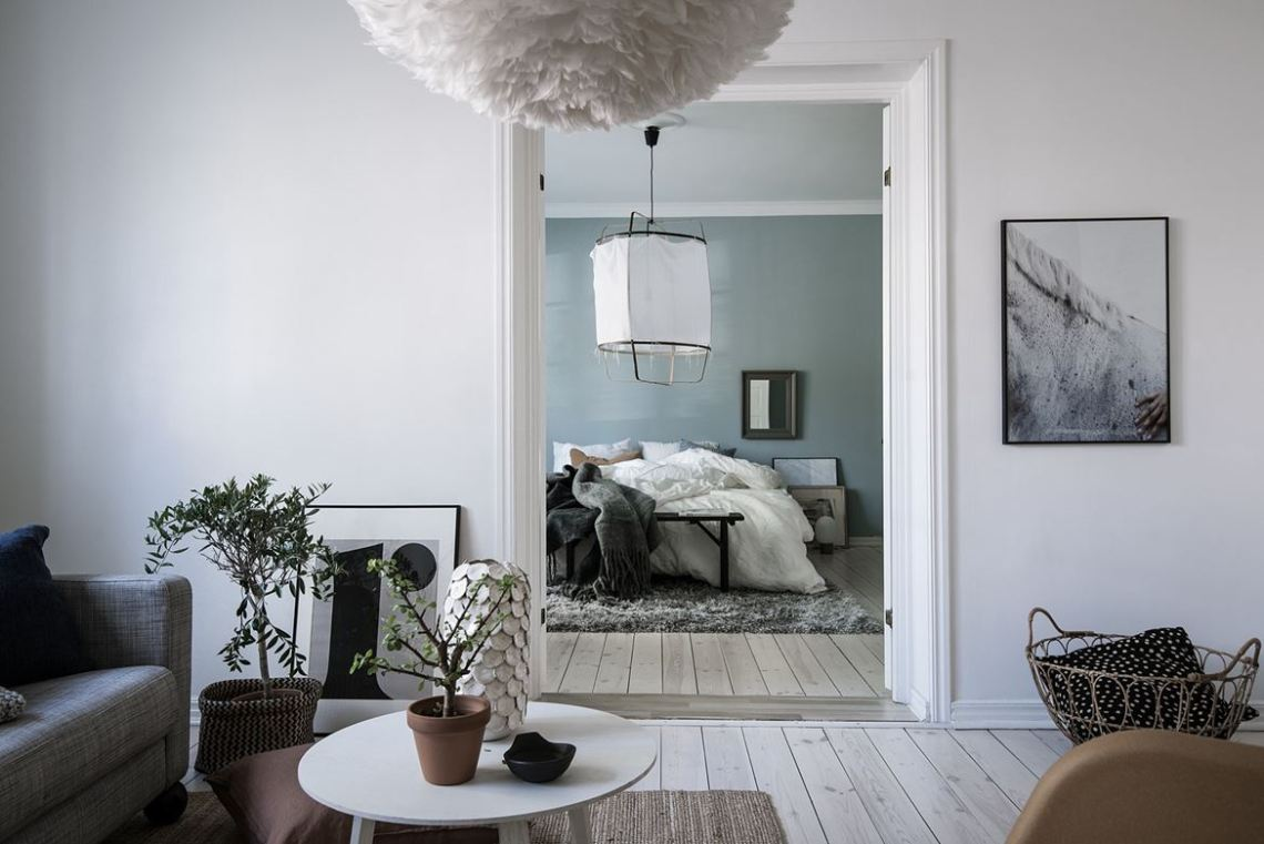 Blue grey bedroom via coco lapine design
