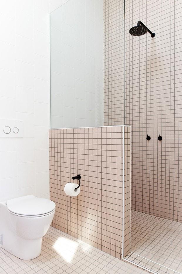 Pink bathroom tiles the modern way - via Coco Lapine Design
