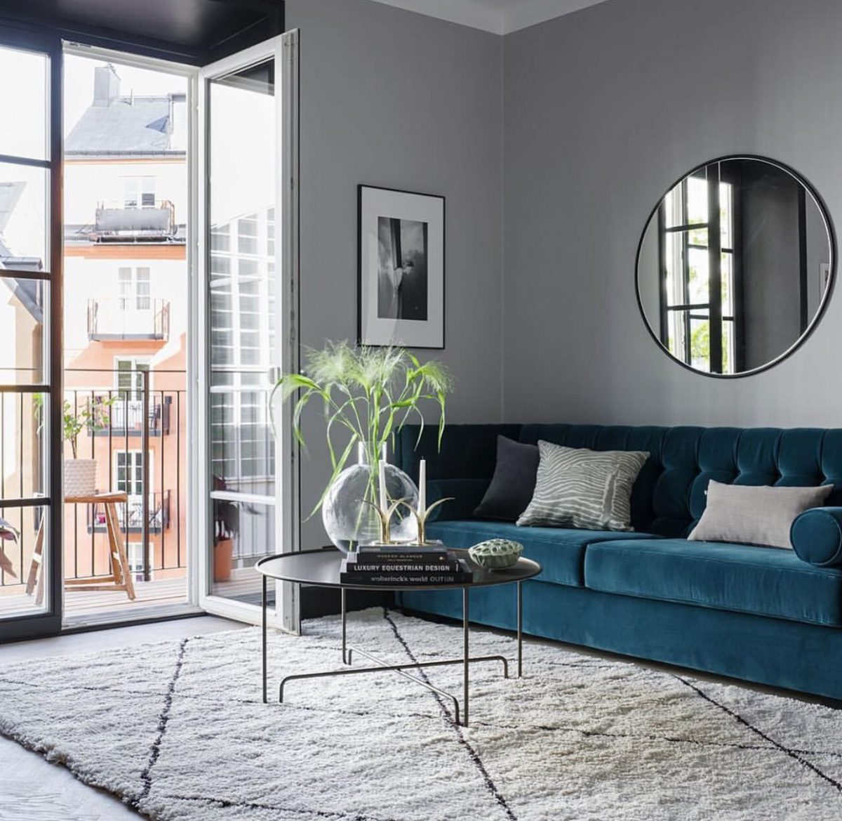 Apartment Living Room Decor Black Couch