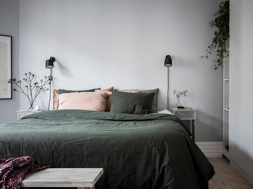 Cozy Bedroom In Green And Grey Coco Lapine Designcoco Lapine Design