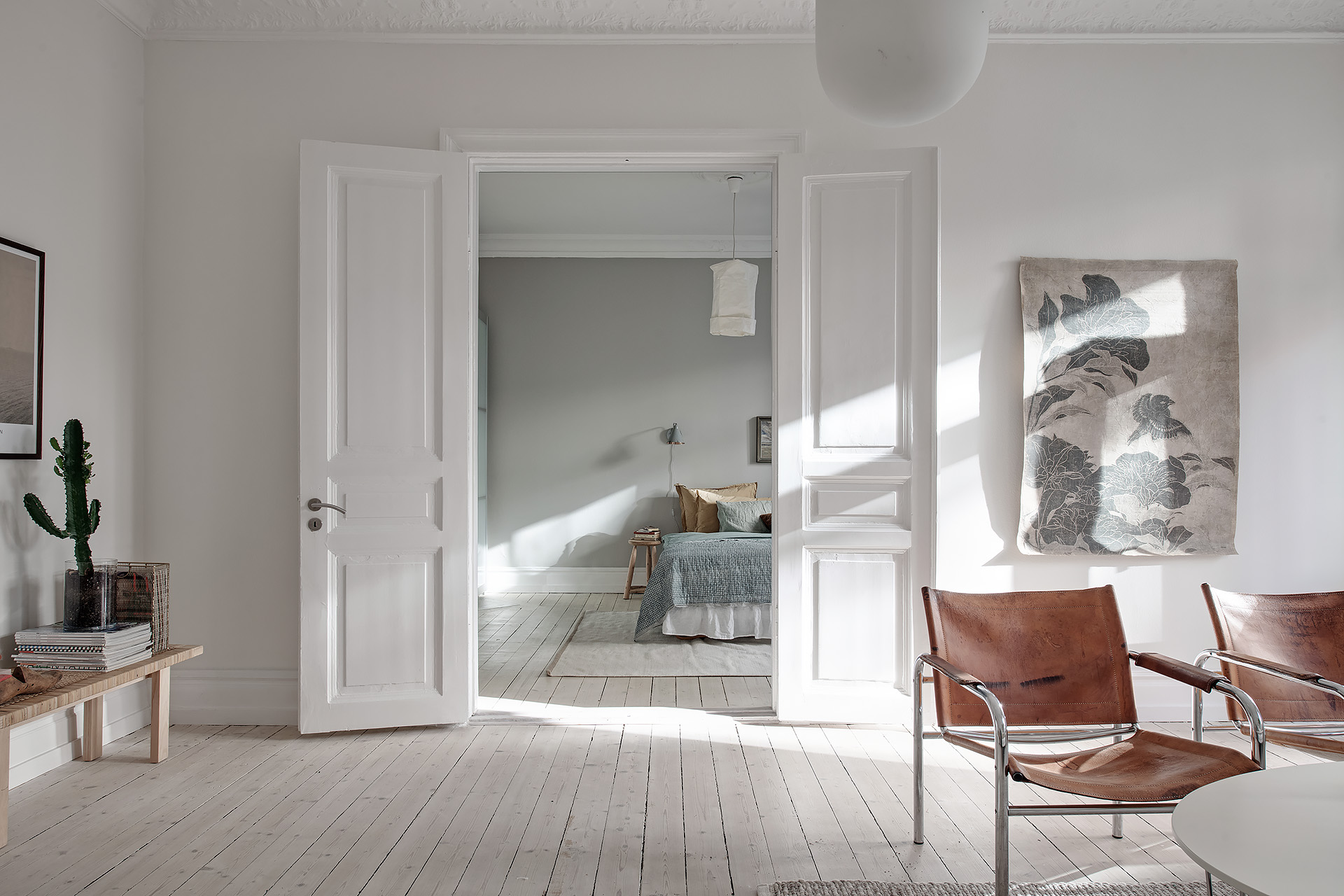Look At This Beautiful Pale Green Bedroom Peaking Through These Historical  Wing Doors From The Living Room. The Walls Are Painted In A Warm Grey, ...