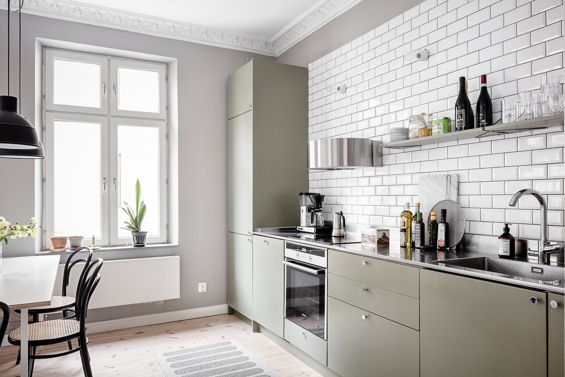 Gorgeous grey home with an olive kitchen - COCO LAPINE ...