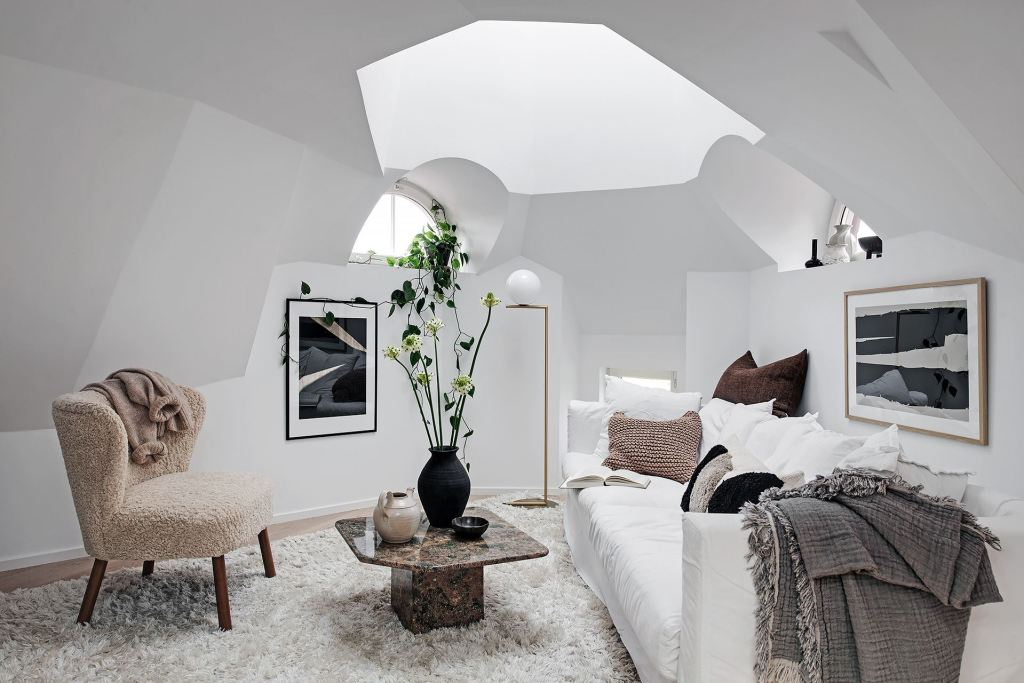 Stylish attic apartment with a strange layout