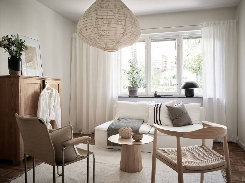 Cozy studio home in beige and light blue
