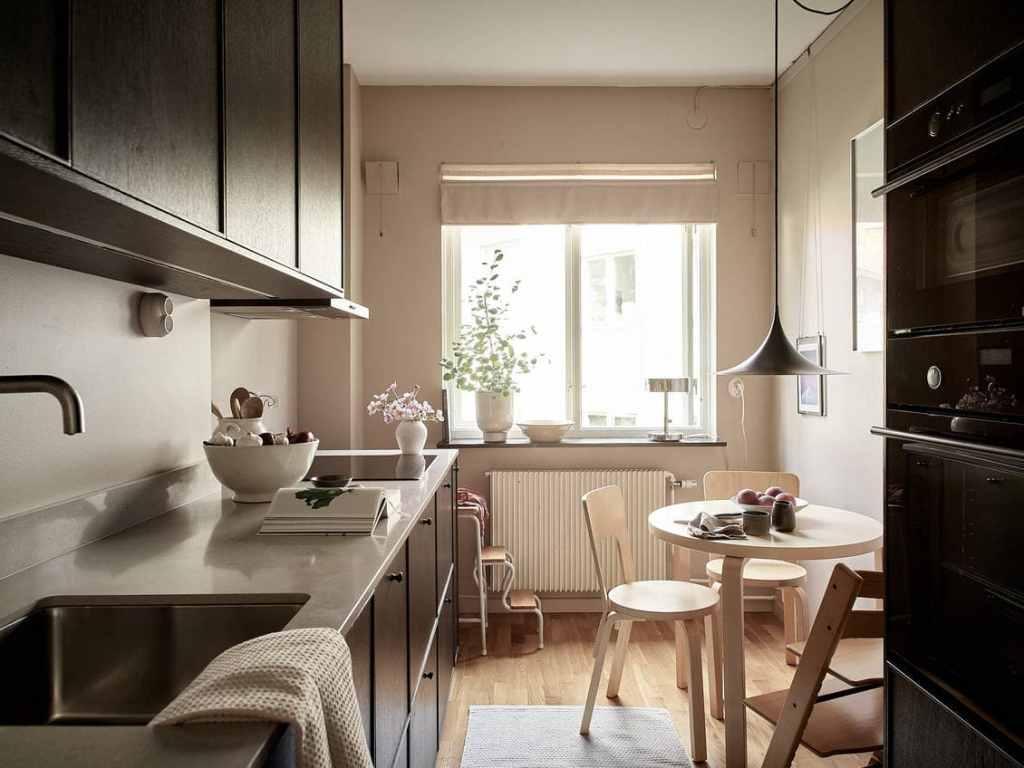 Warm kitchen in dark wood