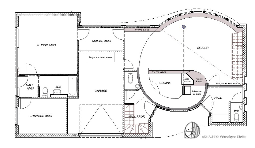 Plan maison bio écologique bioclimatique conçue par Véronique Staffe selon son concept éco-bio-climatique avec spirale du nombre d'or