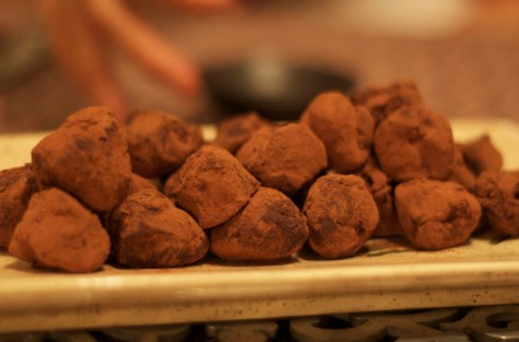4. Chocolate Truffles:  cream cheese + chocolate. Whip the cream cheese, melt the chocolate. Form them together in a ball, let those freeze, then cover with more melted chocolate.