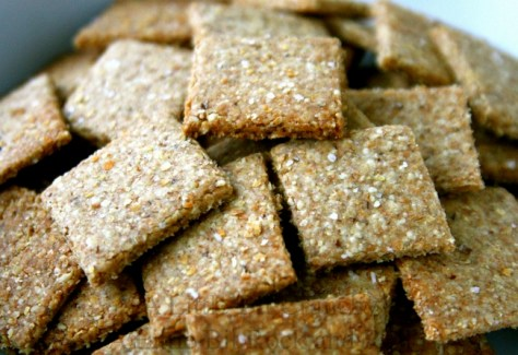 8. Banana Flaxseed Crackers: bananas + flaxseed. Mash up the banana, then mix in the flaxseeds. Spread on greased cookie sheet and bake for 20 minutes in a 350 degree oven.