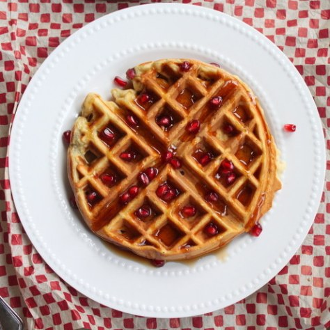 Pomegranate Oatmeal Waffles