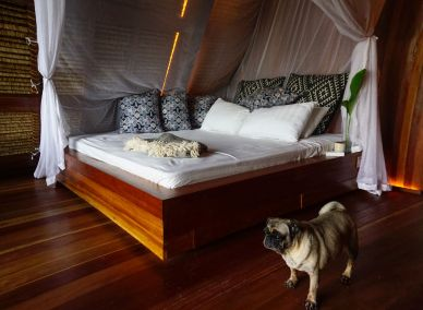 Bed room in triangle dome house