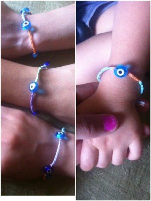 ~ I made evil eye friendship bracelets fro all my sisters, even my nephew got one ~