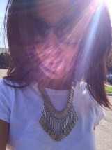 ~ A statement necklace dresses up a plain white shirt ~