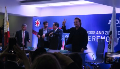 Philanthropist, U2 frontman Bono unveils PH's first-ever drone-based blood delivery service