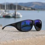 Aviator fitover sunglasses in Soft Touch Black with Blue Mirror