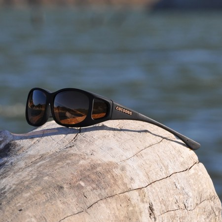 Black Mini Slim fitover sunglasses with an amber lens system